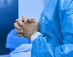 Hands of doctor after operation in clinic