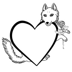 Vector illustration of valentine wolf with heart frame and rose black and white