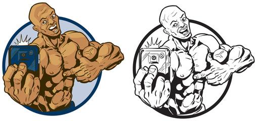 Muscular Black Man Taking Selfie Vector Illustration