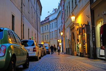 Prague, Czechia - November, 21, 2016: Night street in a center of Prague Fotomurales
