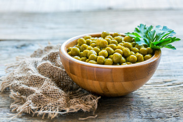 Canned green peas in a wooden bowl.