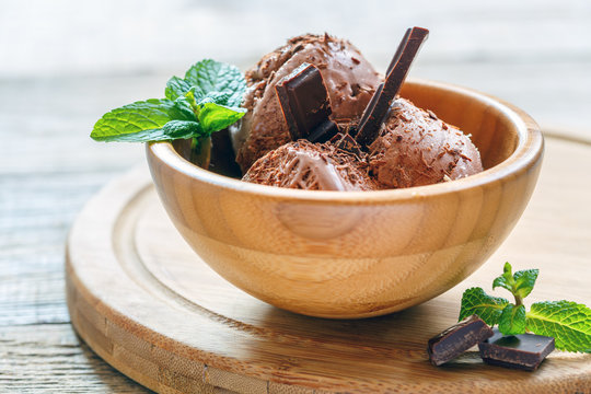 Homemade chocolate ice cream and green mint in a bowl