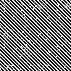 Seamless vector striped pattern. Black, white geometric background with diagonal lines. Grunge texture with attrition, cracks and ambrosia. Old style vintage design. Graphic illustration.