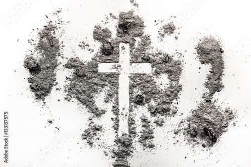 Christian Cross Crucifix Symbol In Ash Dust Ash Wednesday Con