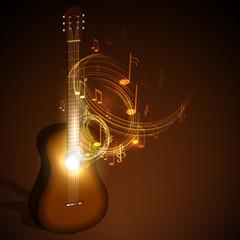 wooden acoustic guitar, music concept