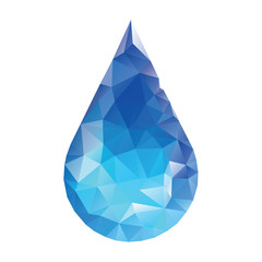 Polygonal water drop. Low poly style