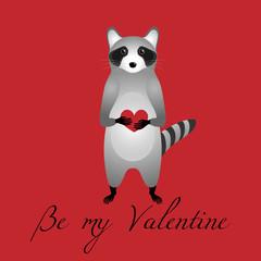 Raccoon with heart.