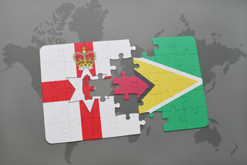 puzzle with the national flag of northern ireland and guyana on a world map