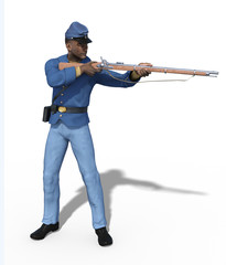 Civil War Union Soldier Aiming Rifle - 3d render