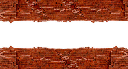 Heap red brick at construction site isolated on white background with blank space for texts display