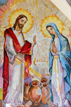 MEDJUGORJE, BOSNIA AND HERZEGOVINA, 2016/08/16. Mosaic of the wedding of Cana of Galilee where Jesus Christ worked his first miracle on the intercession of His Mother Mary. The second Luminous mystery