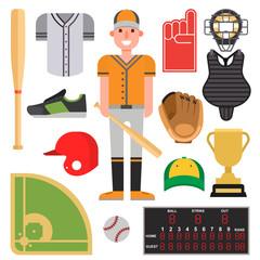 Cartoon baseball player icons batting vector