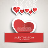 Vector Happy Valentines Day blank greeting card with gray paper