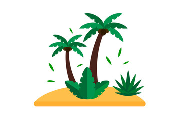Summer palm seascape vector.