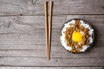 Natto with cooked rice and egg japanese food