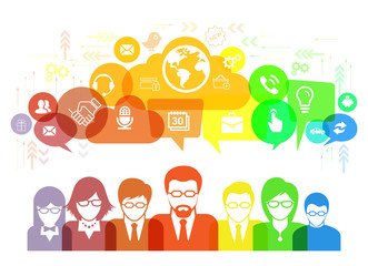 Social network talk and speech bubbles illustration with social media icons