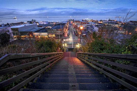 Downtown Port Angeles, Washington at dusk