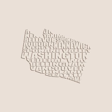 Word cloud map of Washington state. Cities list collage