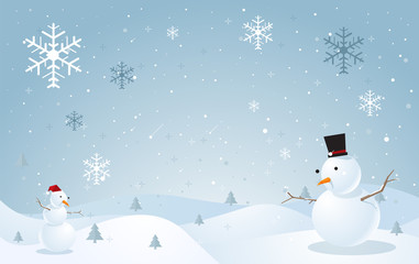 Snowman and snow background. winter season with snow flake. vect