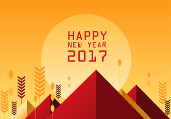 Happy new year 2017 banner and background design. vector illustr