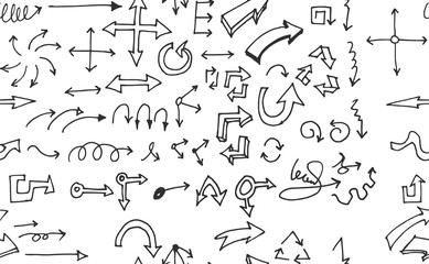 hand-drawn doodle seamless pattern with arrows
