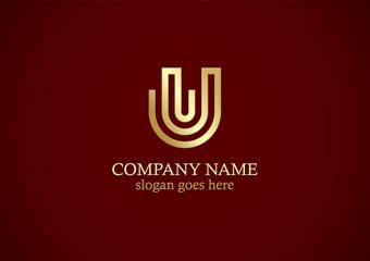 letter u line gold logo