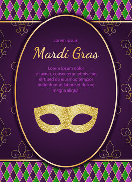 Mardi Gras holiday background. Golden glitter textured mask. Vector greeting card or poster designe template EPS10.