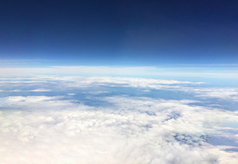Aerial view from the airplane.Above the sky horizon.World explorer cover. Mobile photography