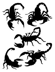 Scorpions gesture animal silhouette. Good use for tattoo, symbol, logo, web icon, mascot, sign, or any deign you want.