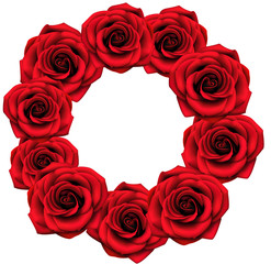 Round frame with red roses