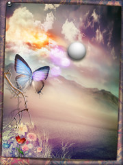 Door stickers Imagination Oasis with full moon and butterfly - old fashioned style postcard