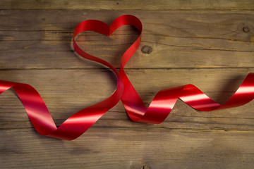 Valentines day heart shaped ribbon