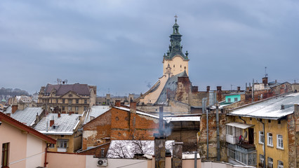 Winter panorama - landscape of old town with red roof
