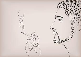 Men male person smoke smoking cigarette tobacco hand model face