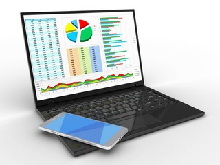 3d illustration of laptop computer over white background with business data screen and mobile phone