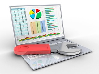 3d illustration of laptop over white background with business data screen and wrench