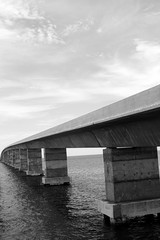 Florida bridge to Key West black white