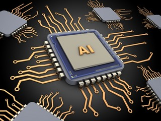 3d illustration of computer chips over black background with AI sign