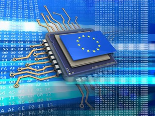 3d illustration of electronic microprocessor over code background with EU flag