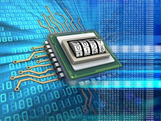 3d illustration of electronic microprocessor over digital background with code protection