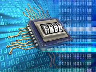 3d illustration of electronic microprocessor over digital background with code dial
