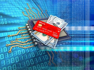 3d illustration of electronic microprocessor over digital background with money