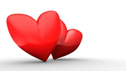 3d illustration of red heart over white  background with second red