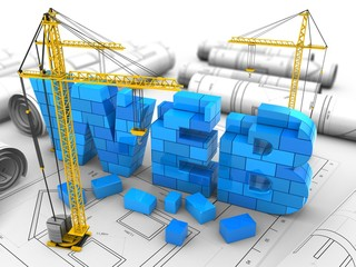 3d illustration of web sign over drawings background with cranes