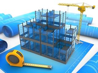 3d illustration of glass building over blueprints background with crane
