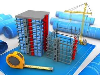 3d illustration of building over blueprints background with crane