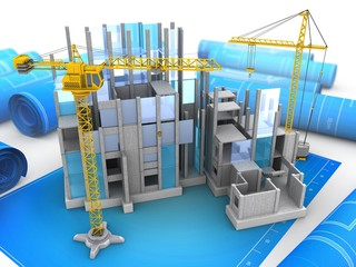 3d illustration of building construction over blueprints background with crane
