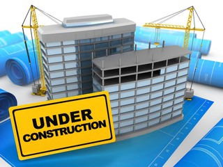 3d illustration of modern buildings over blueprints background with cranes