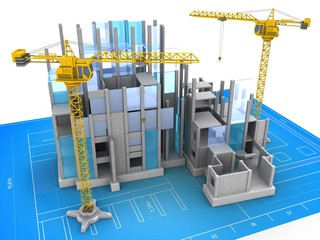 3d illustration of building construction over blueprint background with crane
