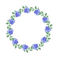 a wreath of blue roses. Watercolor painting. Hand drawing. Decorative element for greeting card, Invitation card.